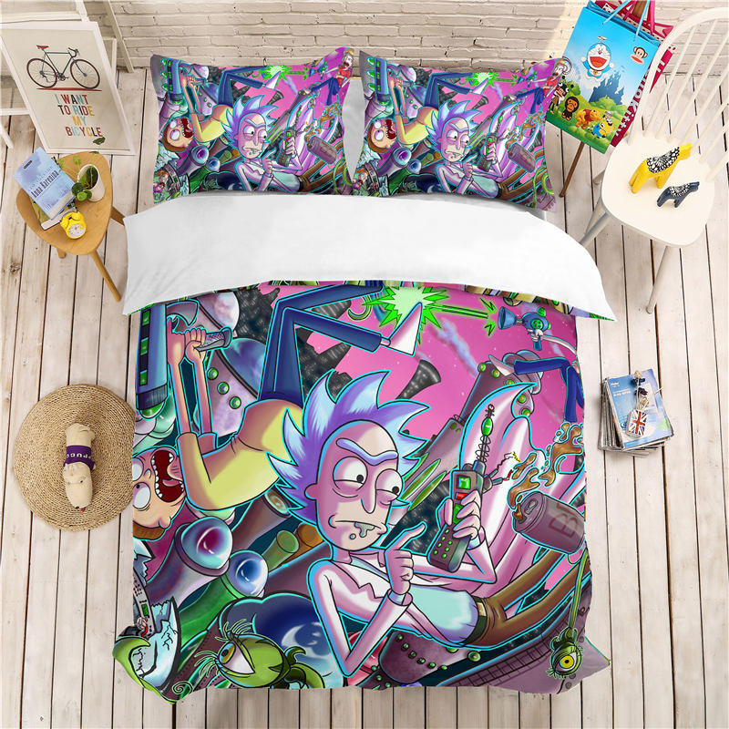 Musolei Rick And Morty 3D Bedding Set Queen Size Duvet Cover Set Comforter Cover Set  Bedclothes Home Room Textiles