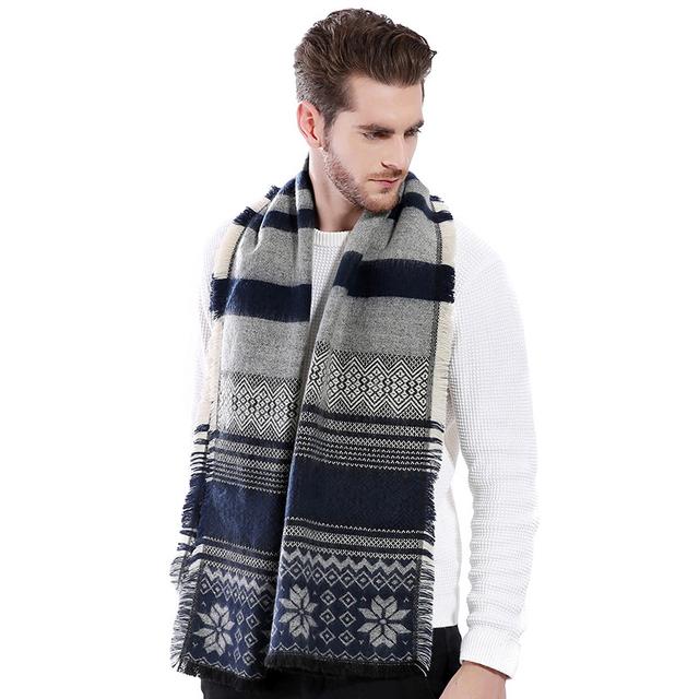 La alta calidad Del Invierno Engrosamiento de Impresión Bufandas Bufandas de Lana Bufanda de Cachemir Hombres de Negocios Casual Masculina MN076 Chales Y Bufandas