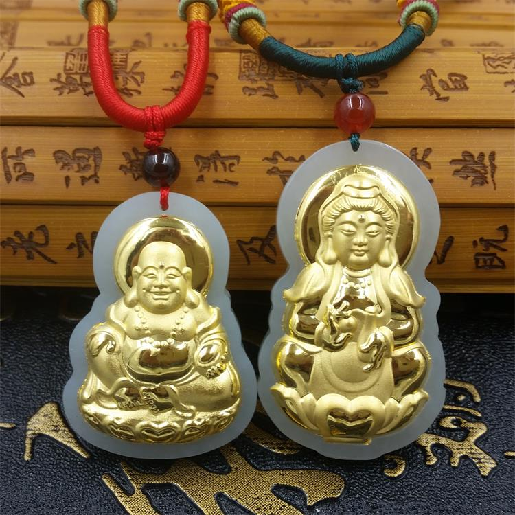 Natural HeTian Yu Mosaic Gold Buddha Guanyin pendant transshipment amulet jade Necklace + Certificate Fashion Jewelry natural jadeite dragon brand lace jade pendant zodiac dragon transshipment yu pei jade pendant necklace for women and men