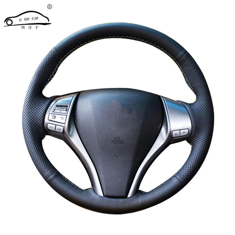 Artificial Leather car steering wheel braid for  Nissan Teana Altima 2013 2016 X Trail QASHQAI Rogue /Custom made Steering cover-in Steering Covers from Automobiles & Motorcycles