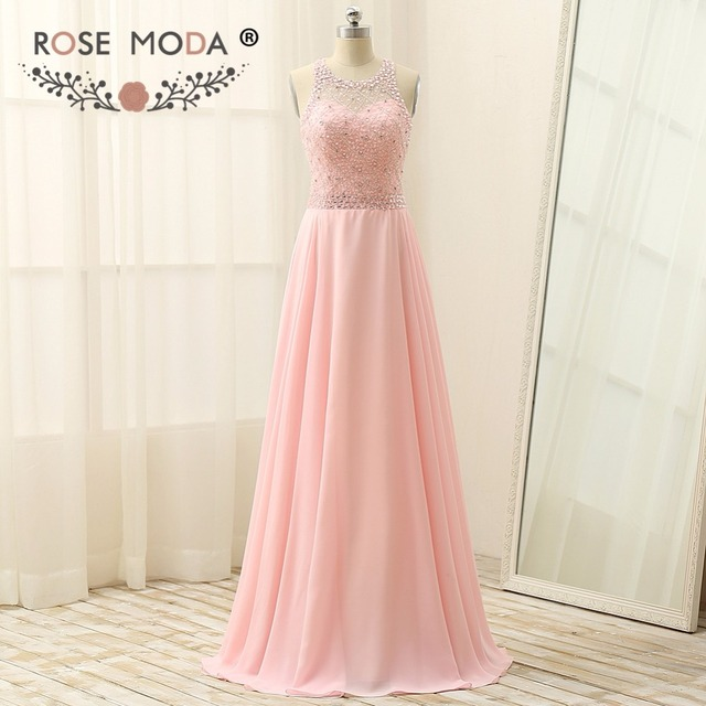 Rose Moda Light Pink Prom Dress Floor Length Formal Prom Dresses ...
