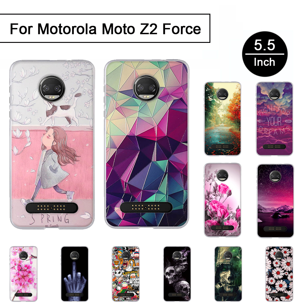 TPU Case For Motorola Moto Z2 Force 3D Stereo Relief Painted Cover For Moto Z2 Force Back Phone Cases Cartton Shell Soft Silicon