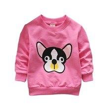 Весенне-осенние детские толстовки; однотонные толстовки для мальчиков и девочек; хлопковые свитера с длинными рукавами и круглым вырезом с рисунком собак