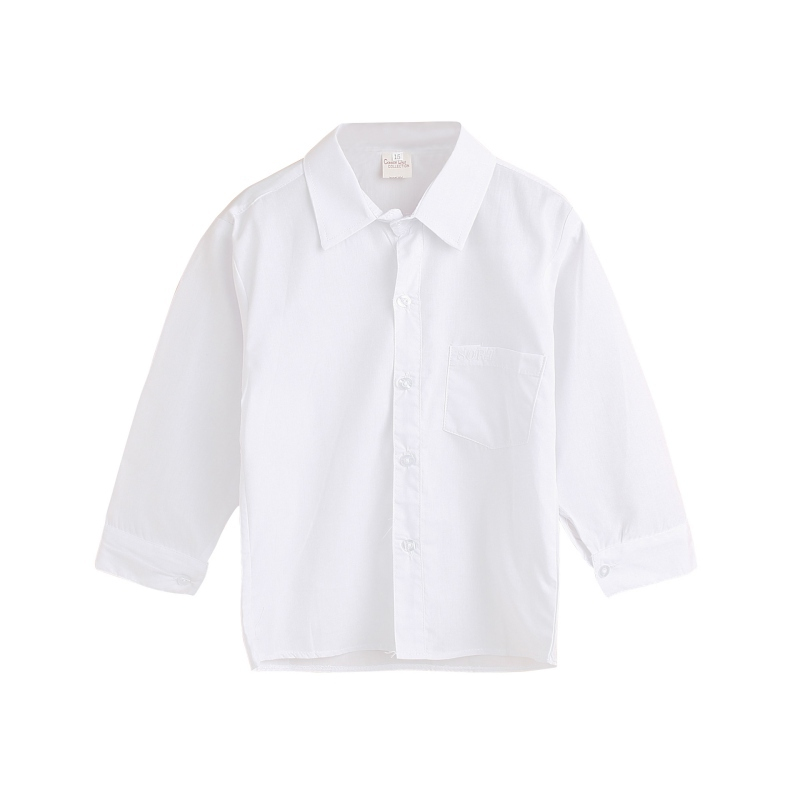 Spring White Solid Color Kids Boy Lapel Buttons Shirts