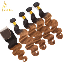 airUGo Hair Pre -Colored Ombre Brazilian Hair 4 Bundles With Lace Closure 1B/30 Body Wave Human Hair Weave Bundles Non-Remy