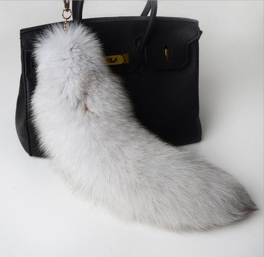 10pcs//lot Black Real Mink Fur Tail Tassel  w Diamond Keyring Bag Charm Keychain