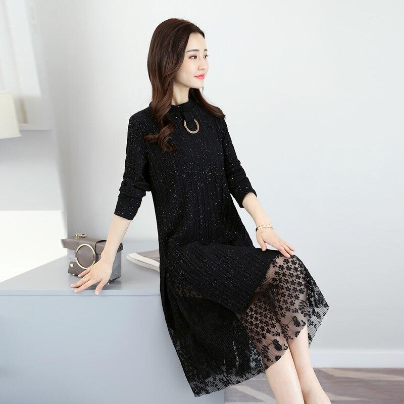 Grande 2 Longues Split Dentelle Black khaki Patchwork Pc Vêtements Femmes Robes Robe Longue Faux Manches En À Taille Femme De Vintage rw6z0qr