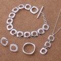 Más caliente 925 sistemas de la joyería para las mujeres declaración de moda de alta calidad sistemas de la joyería de plata para las mujeres elegent boda