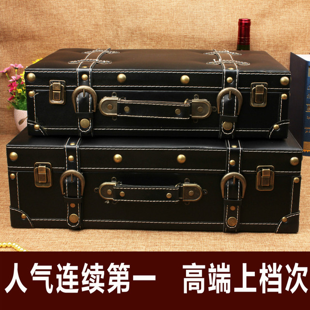 Hot Vintage Leather Suitcase Storage Storage Box Factory Sales Wedding  Photography Window Display Software Installed Props