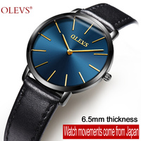 OLEVS Original Watch Upscale Design Black Leather Water Resistant Watches Women S Ultra Thin Clock Blue
