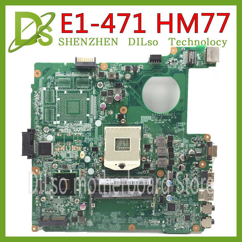 KEFU E1-471G DAZQSAMB6E1 Motherboard For ACER Aspire E1-431 E1-471 V3-471 Laptop Motherboard HM77 Original Test Motherboard