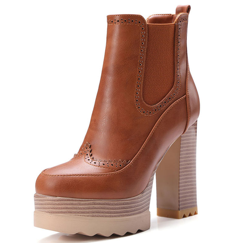 Size 34-42 2017 4 Colors 2017 Thick High Heels Ankle Boots Women's Shoes Add Fur Platform High Quality Autumn Winter Boots size 34 42 high quality short boots add fur platform winter shoes woman 2016 fashion thick high heels lace up shoes for women