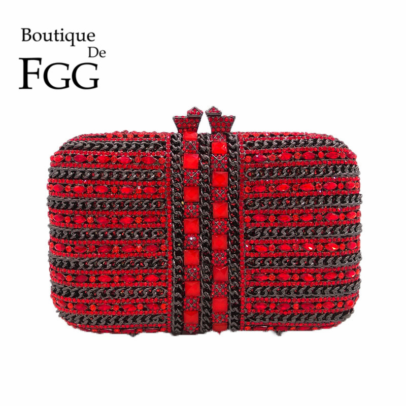Gunmetal Plated Red Crystal & Chains Women Evening Bag Box Clutch Hollow Out Bridal Mini Metal Handbag and Purse Bolsos De Mano red crystal
