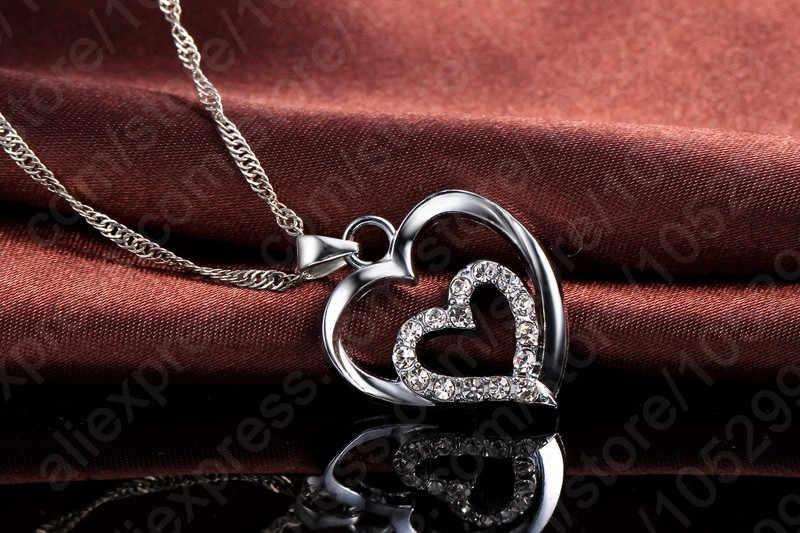 Wahre Liebe Herz Inneren Herz Form Anhänger Halskette 925 Sterling Silber Jewerly Für Frau Mädchen Dame Geschenk Großhandel