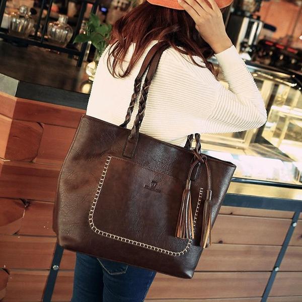 dark brown tote bag