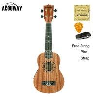 Acouway 21 Soprano Electric Ukulele uke Mini guitar Hawaii Ukelele Guitar Sapeli wood Musical Instruments
