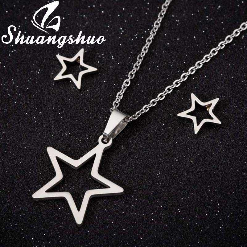 Shuangshuo Tiny Star Necklace Stainless Steel Sets For Women Choker Necklace Earrings Jewelry Set Bridal Mother's Day Jewelry
