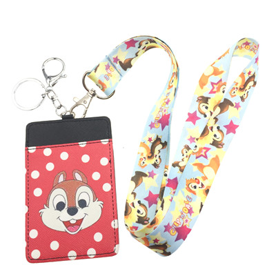1 pcs Cartoon chipmunk new pu Lanyard Key Chains Pendant party Gifts Neck Strap Card Bus ID Holders Identity Badge Lanyard
