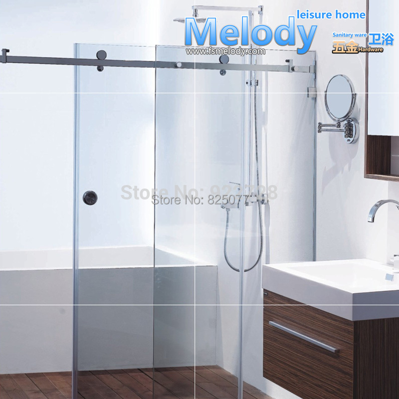 Free shipping no glass no bar frameless shower sliding for Glass room bathroom chateau marmont