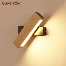 Nordic simple Wooden LED Wall Lamp Modern Adjustable Lighting bar restaurant Living room Porch Wall Lamps Corridor decor(China)