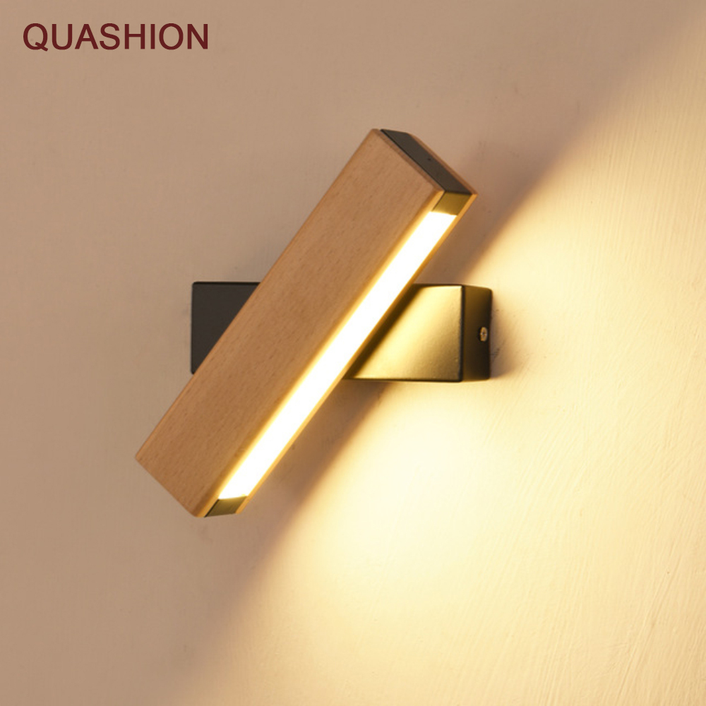 Nordic simple Wooden LED Wall Lamp Modern Adjustable Lighting bar restaurant Living room Porch Wall Lamps Corridor decor