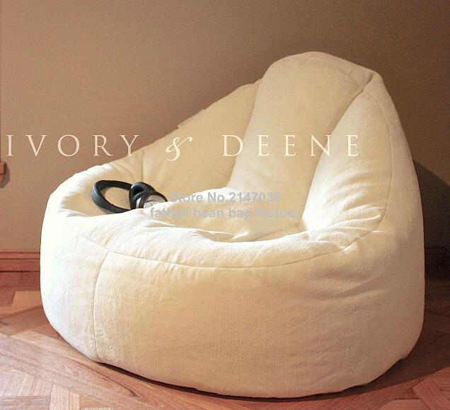 Furlicious Leanback Lounger , High Back Support Bean Bag Living Room Sofa  Chair Lazy Sofa Beds In White In Bean Bag Sofas From Furniture On  Aliexpress.com ...