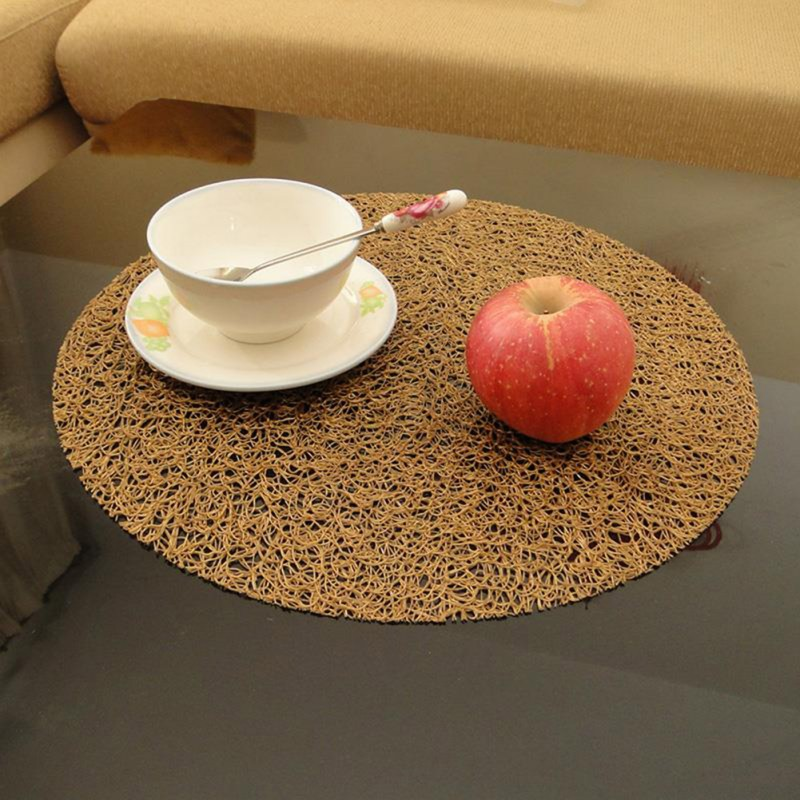 Round Coasters Plate Pad Slip-resistant PVC Table Mat Placemat Dining Table Decor Heat Insulation Mat Tablecloth