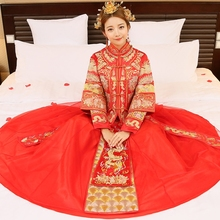Free shipping maternity wedding dresses chinese style dress formal clothes red vintage long-sleeve tang suit