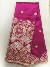 5 Yards/pc Hot sale fuchsia cotton fabric with gold sequins design african George lace for clothes OG3-2