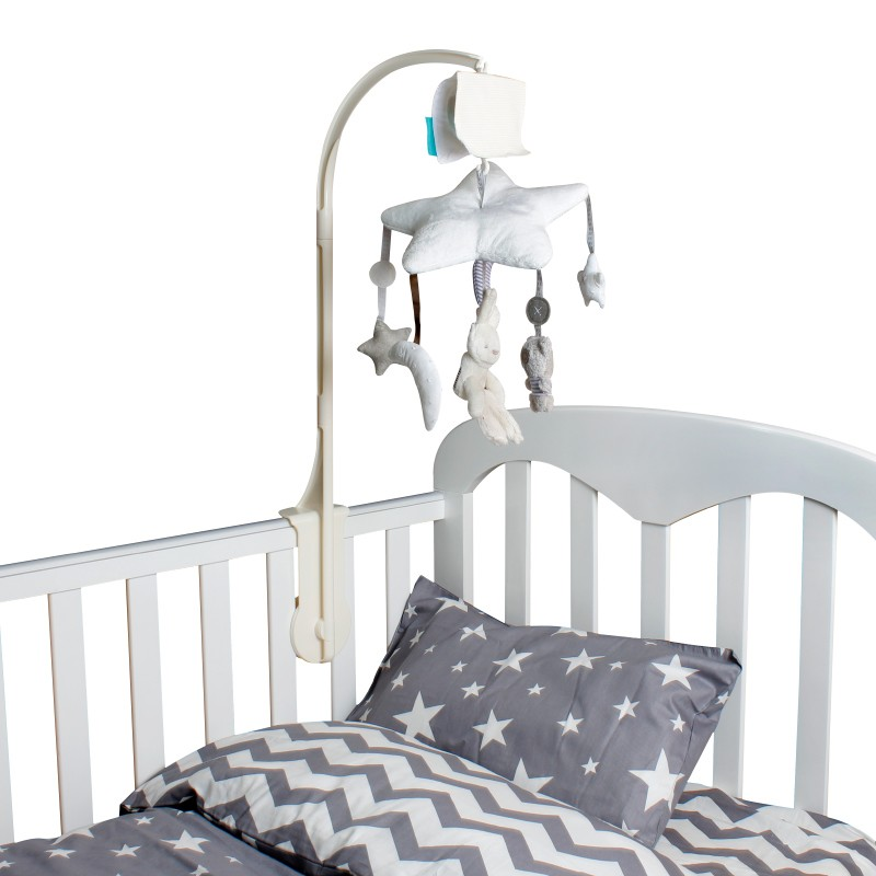 ФОТО Baby bed accessories Crib Musical Mobile Cot Bell Music Box with Holder Arm Baby Bed Hanging Rattle music Toys Newborn Gift