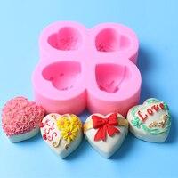 Forma Da Flor Do Coração Do Valentim 3D Molde de Silicone Ferramentas de Decoração Do Bolo Do Queque de Chocolate Muffin Pan Molde Gumpaste Cozimento Stencil
