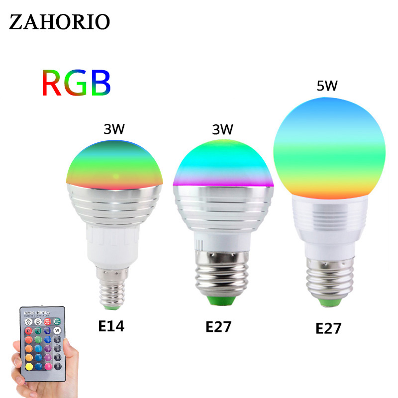 E27 E14 GU10 LED 16 Color Changing RGB Magic Light Bulb Lamp 85-265V 110V 120V 220V RGB Led Light Spotlight + IR Remote Control