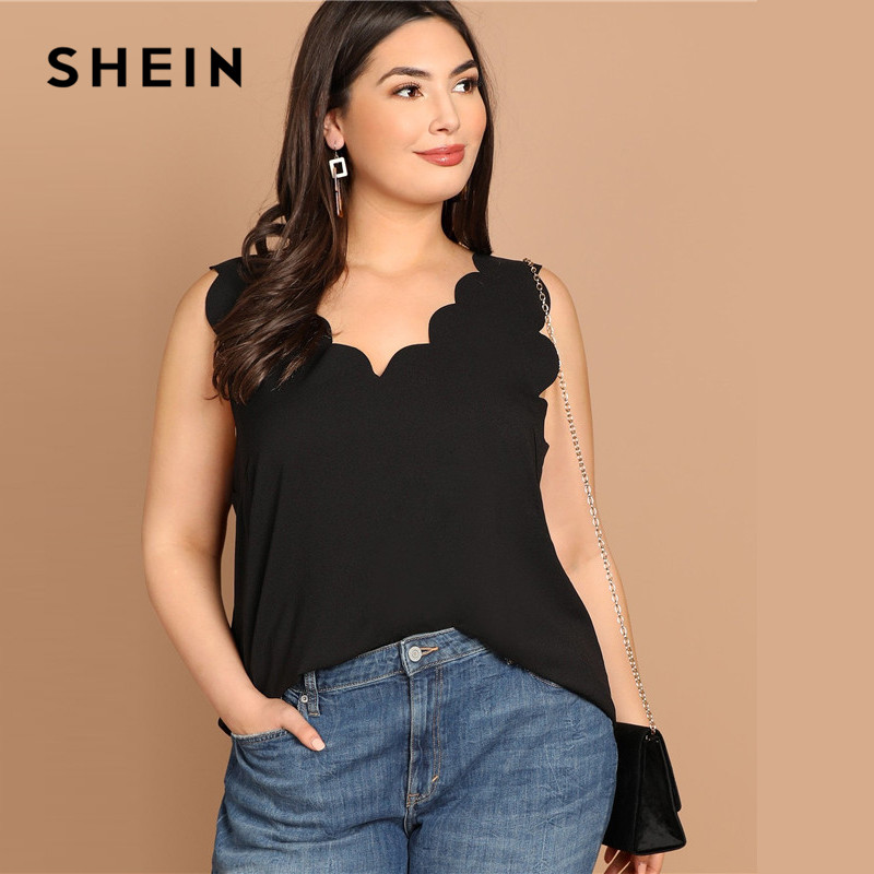 707b7b2282f SHEIN Black Scallop Edge V Neck Casual Plus Size Basic Tank Top Women  Sleeveless Solid Vests-in Tank Tops from Women s Clothing on Aliexpress.com