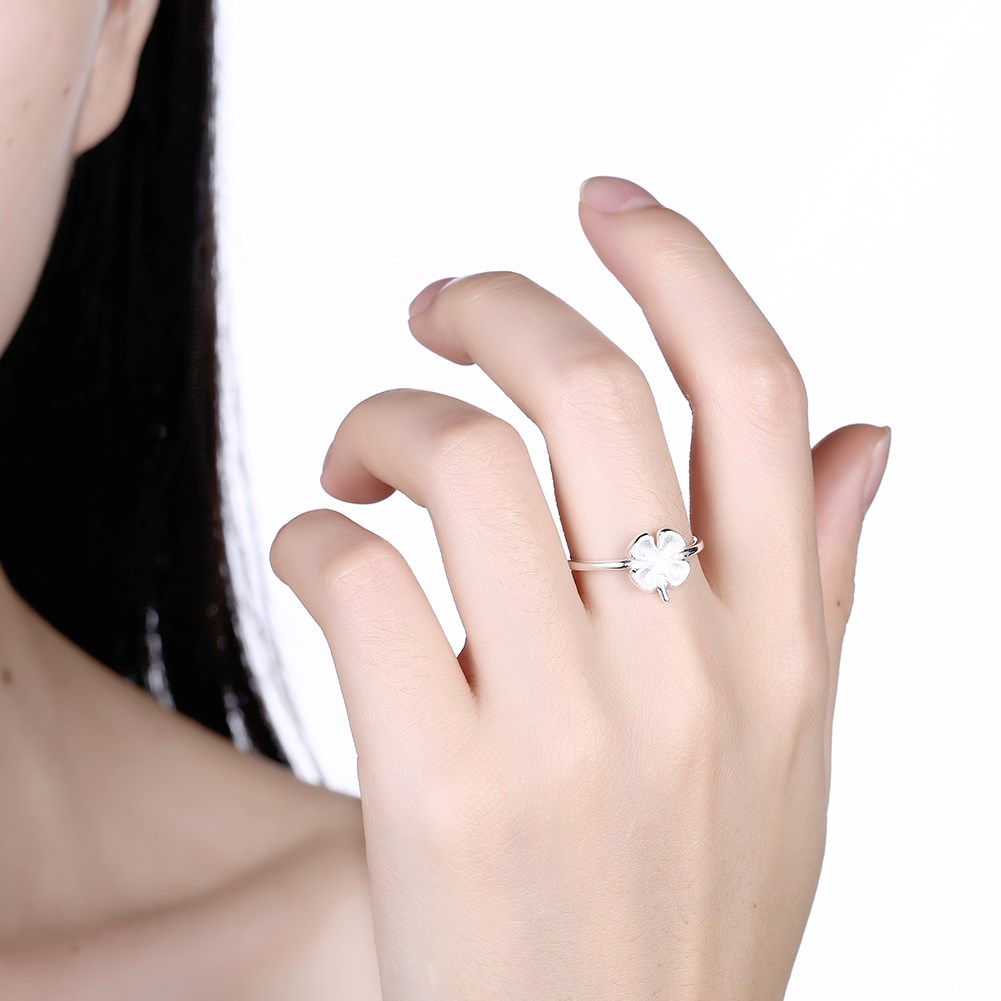 925 Sterling Silver Ring Couple Flat Ring Cute Clover Female Rings ...