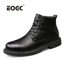 Купить с кэшбэком Natural Leather Men Boots keep Warm Waterproof Ankle Snow Boots Plush Fur Outdoor Men Shoes Lace-Up Autumn And Winter Shoes