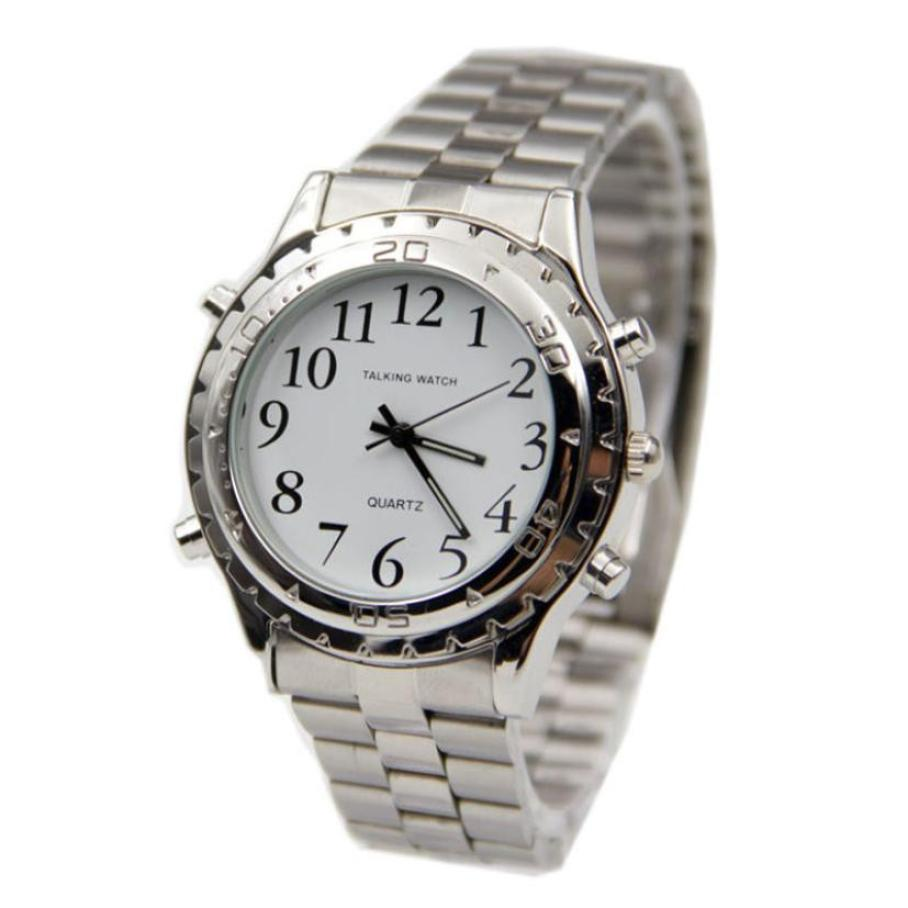 High Quality English Talking Clock Stainless Steel For Blind Or Visually Impaired Watch Men Women Digital Number Wristwatch newly launched german talking watch for blind or low vison people with alarm for the elderly speaking quartz
