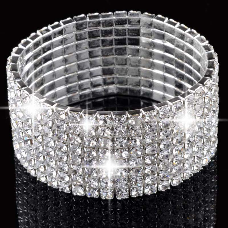 1-8Rows Crystal Rhinestone Wedding Bridal Elastic Bangle Cuff Charm Bracelet Bling Wristband Women Party Jewelry Drop Free soccer-specific stadium