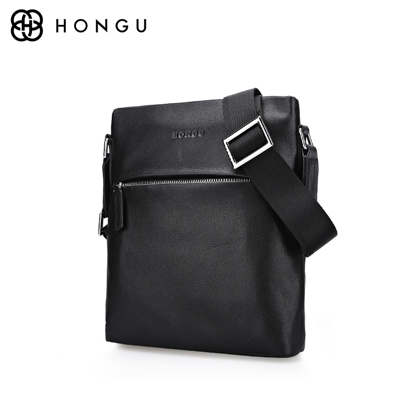 HONGU Famous Brand Genuine Leather Bag Man Handbags Briefcases Crossbody Shoulder Bag For IPad Casual Mens Messenger Bag Satchel