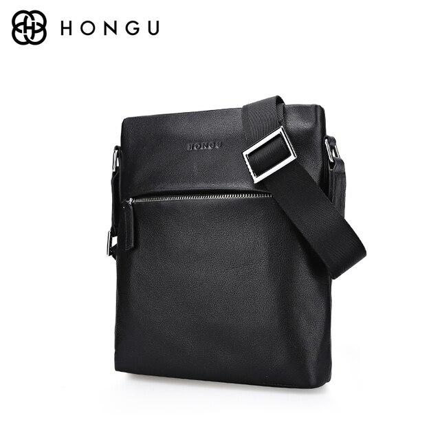 e7fd79e7cd HONGU célèbre marque en cuir véritable sac homme sacs à main porte-documents  bandoulière sac