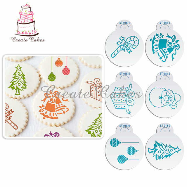 6Pcs Christmas Stencils Template for Cookie Christmas Tree Stencil