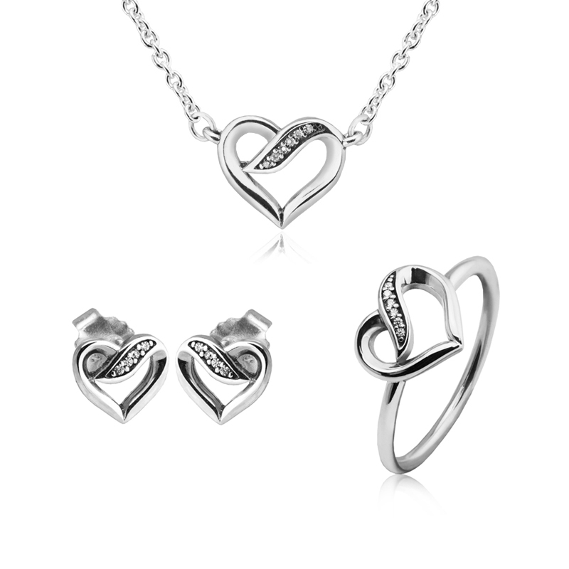 Ribbons of Love Necklace Earrings Ring 100% 925 Silver Clear Cz Jewelry Set for Women Lady Gift Fine Jewelry PFS032Ribbons of Love Necklace Earrings Ring 100% 925 Silver Clear Cz Jewelry Set for Women Lady Gift Fine Jewelry PFS032