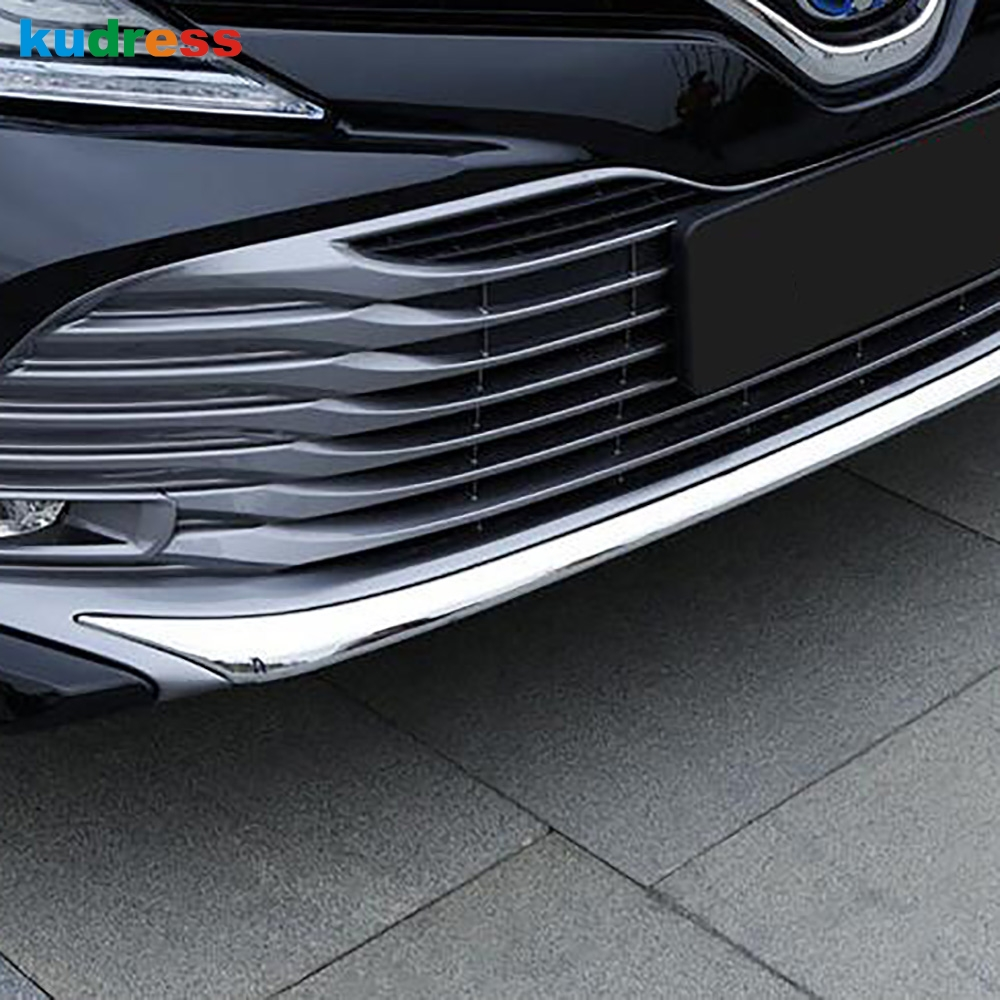 For Toyota Camry 2017 2018 2019 Hybrid ABS Chrome Front Bottom Bumper Molding Racing Grill Trim Front Bumper Lip Cover Strip цена
