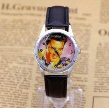 Мужчин, женщин, детей довольно Элвис Пресли мультфильм прекрасный часы best модные повседневные Простые кварцевые квадратный кожаный часы