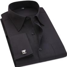 Классический черный французский запонки мужские платье в деловом стиле рубашка с длинными рукавами с лацканами мужчин социальной рубашке 4XL 5XL 6XL