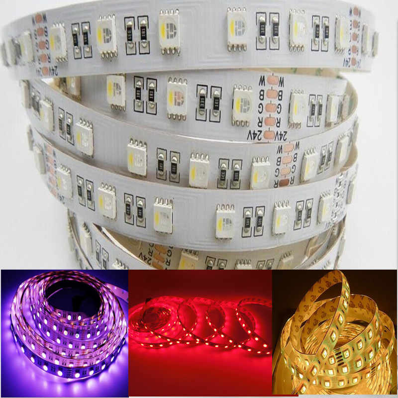 5050 LED RGBW/RGBWW Streifen Licht 4in1 Led Flexible Band DC 12 v/24 v 5 mt 60LED /M 300LED Hohe Helligkeit String 3 mt Aufkleber