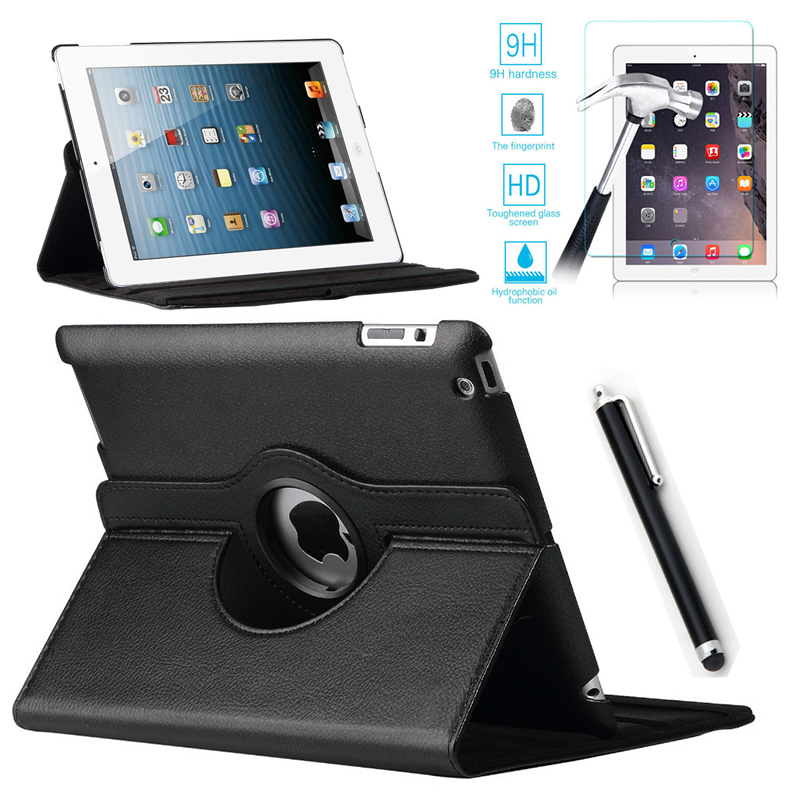 For Case Apple iPad 2/3/4 PU Leather Smart Stand Flip Case Cover 360 Rotating+Premium Tempered Glass Screen Protector+Stylus Pen new arrival 360 rotating stand flip pu leather case for apple ipad mini 1 2 3 7 9 inch tablet protective cover shell stylus