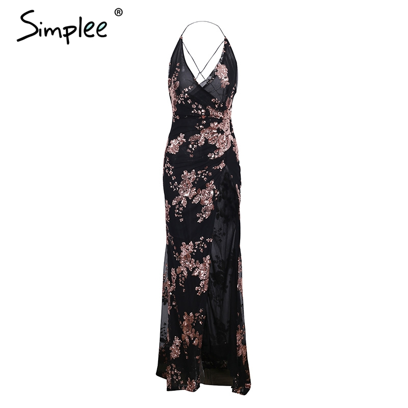 Simplee Sexy lace up halter sequin party dresses women High split maxi dress festa female Christmas 2018 long dress vestidos