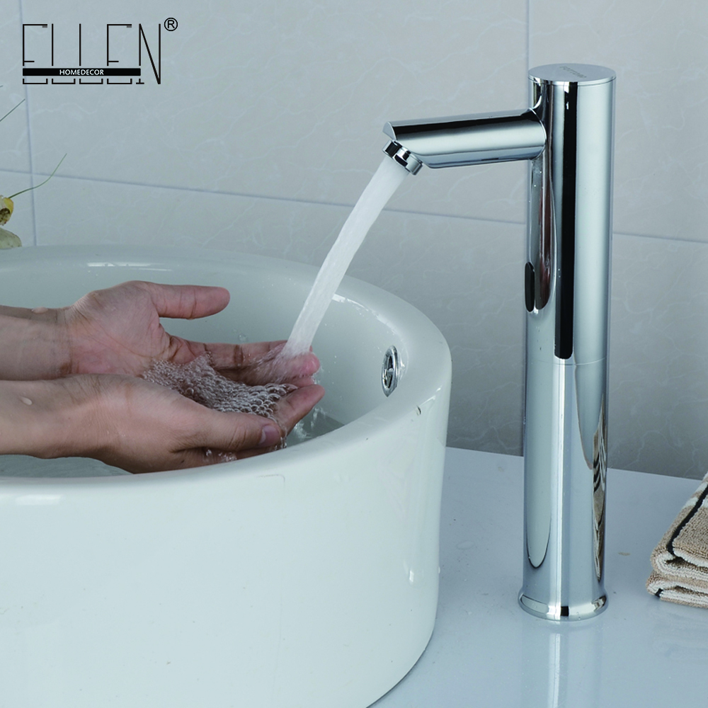 Фотография Automatic Inflated Sensor Tall Basin Faucet Chrome Cold & Hot Hand Touch Tap Deck Mounted Crock Tap Mixer
