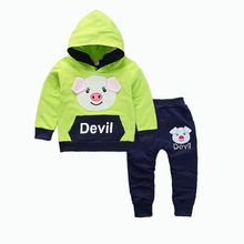 Children Boys Girls Clothing Suits Spring Autumn Baby Cartoon Pig Hoodies Pants 2Pcs/Sets Kids Brand Clothes Toddler Tracksuits kids tracksuits 2018 new autumn boys clothes sets letter printed hoodies