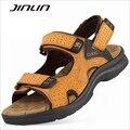 Мужчины сандалии 2017 новые поступления летняя обувь высокого качества неподдельной кожи пляж обувь мужчины крюк и петля сандалии для мужчин